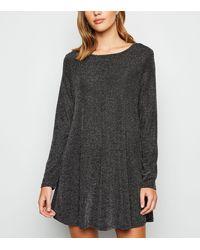Mela Black Shimmer Long Sleeve Tunic Dress