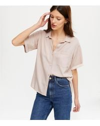 New Look Pale Pink Pocket Front Button Up Shirt