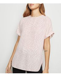 New Look Pink Mixed Animal Print Oversized Top