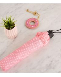 New Look - Pink Spot Print Collapsible Umbrella - Lyst