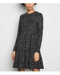 New Look - Black Spot Tiered Smock Dress - Lyst
