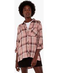 Apricot Pink Check Long Oversized Shirt