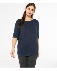 Apricot Navy Knit Oversized Top - Blue