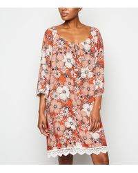 Apricot Orange Floral Crochet Trim Mini Dress