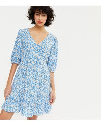 New Look Blue Floral V Neck Button Tiered Mini Dress