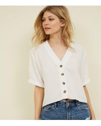 New Look - Petite Cream Button Front Boxy Shirt - Lyst