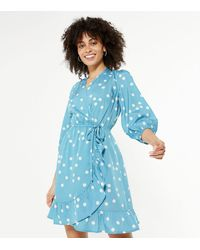 New Look - Blue Spot Wrap Frill Mini Dress - Lyst