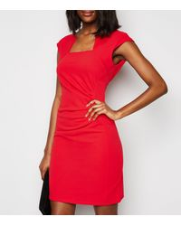 Missfiga Red Cap Sleeve Ruched Bodycon Dress