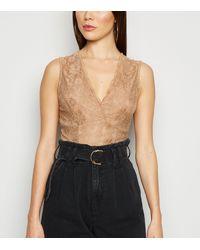 New Look Camel Lace Plunge Bodysuit - Black