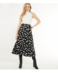 New Look Black Abstract Spot Satin Belted Midi Skirt