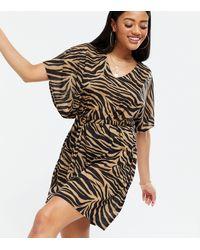 New Look - Brown Zebra Print Jersey Beach Kaftan - Lyst