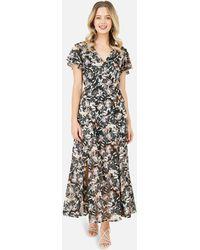 Yumi' Black Floral Maxi Dress