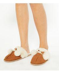 New Look Tan Suedette Faux Fur Lined Mule Slippers - Brown