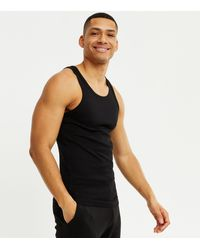 New Look Black Ribbed Jersey Muscle Fit Vest