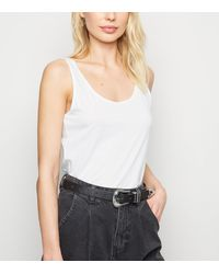 New Look - 2 Pack White Scoop Neck Vests - Lyst