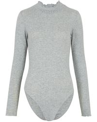New Look Grey Ribbed High Frill Neck Bodysuit