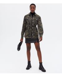 New Look Tall Green Camo Belted Shacket