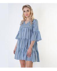 Cutie London Pale Blue Spot Tiered Smock Dress