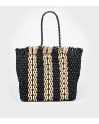 New Look Black Stripe Woven Straw Effect Tote Bag