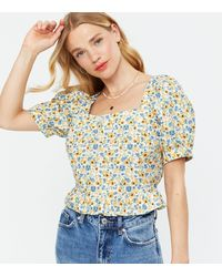 New Look - White Ditsy Floral Square Neck Peplum Blouse - Lyst