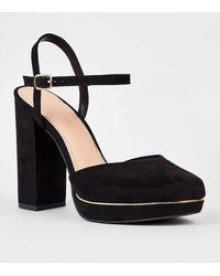 New Look Black Suedette 2 Part Platform Block Heels