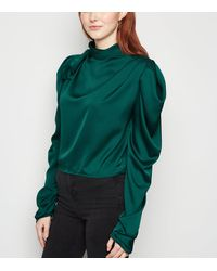 Urban Bliss Teal Satin Pleated Puff Sleeve Blouse - Green