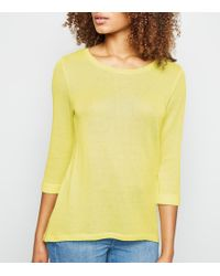 89a26f15e0 New Look - Pale Yellow 3 4 Sleeve Fine Knit Top - Lyst