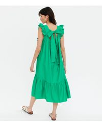 New Look Square Neck Frill Tiered Midi Smock Dress - Green