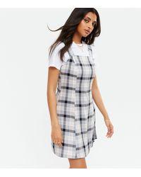 New Look White Check Mini Pinafore Dress