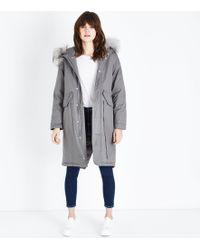 New Look Pale Grey Longline Faux Fur Trim Parka
