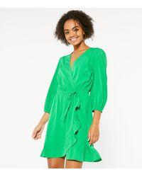 New Look Green Ruffle Wrap Mini Dress