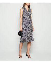 Mela Blue Leaf Print Frill Wrap Midi Dress New Look