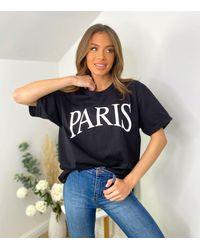 AX Paris Black Paris Logo Oversized T-shirt