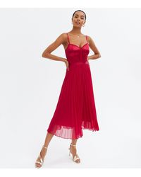 New Look Satin Bustier Pleated Midi Dress - Red