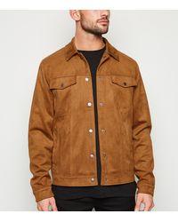New Look Tan Suedette Trucker Jacket - Brown