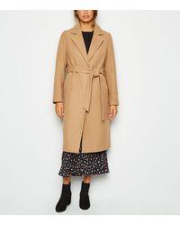 New Look Camel Longline Belted Coat - Natural