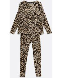 New Look Maternity Brown Leopard Leggings Pyjama Set