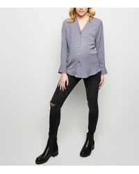 7622e85eb8842 New Look Maternity Blue Mid Wash Ripped Over Bump Skinny Jeans in Blue -  Lyst