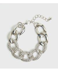New Look Silver Diamanté Chain Bracelet - Metallic