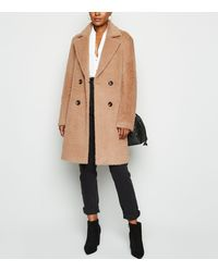 New Look Camel Fluffy Collared Longline Coat - Natural