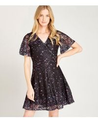 Apricot Black Lace Butterfly Wrap Dress