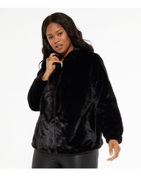 New Look Curves Black Faux Fur Hooded Bomber Jacket