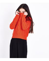 New Look Girls Orange Cable Knit Jumper