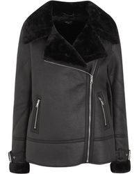 New Look Tall Leather-look Faux Fur Lined Aviator Jacket - Black