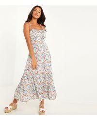 Quiz - Pale Blue Floral Tie Strap Midaxi Dress - Lyst