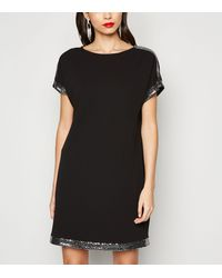 Apricot Black Sequin Panel Dress