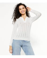 New Look White Pointelle Knit Collared Jumper