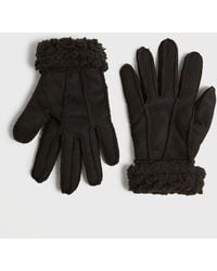 New Look Black Faux Shearling Gloves
