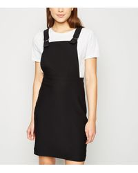 New Look Black Mini Pinafore Dress