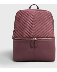 New Look Burgundy Suedette Quilted Laptop Backpack - Multicolour
